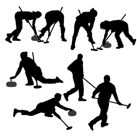 curling: Curling Game Silhouette on white background