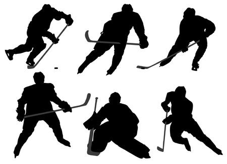 hockey sobre hielo: Jugador de hockey sobre hielo silueta sobre fondo blanco Vectores