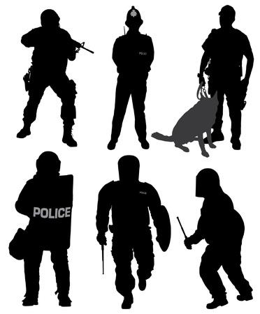 perro policia: Policía Silueta sobre fondo blanco