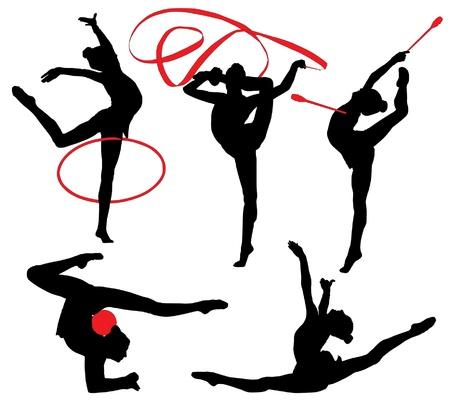 rhythmische sportgymnastik: Rhythmische Gymnastik Silhouette auf wei�em Hintergrund