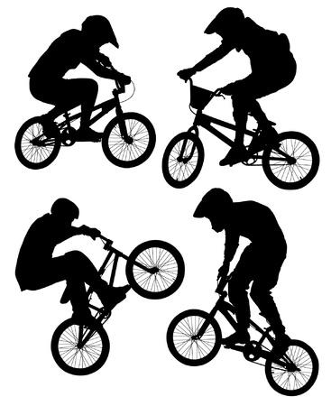 Ciclismo BMX Silhouette su sfondo bianco Vettoriali