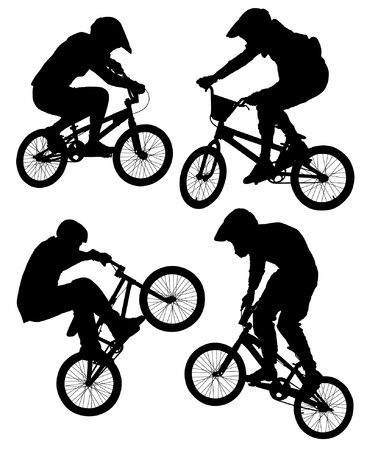 Cycling BMX Silhouette on white background Vector