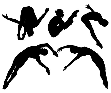 divers: Springboard Platform Diving Silhouette on white background Illustration