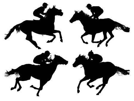 白い背景の上の馬レース シルエット