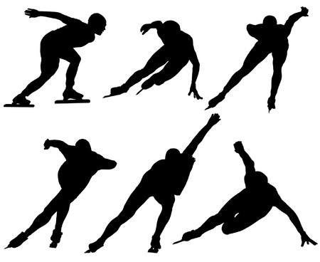 patinaje: Velocidad de patinaje sobre hielo silueta sobre fondo blanco