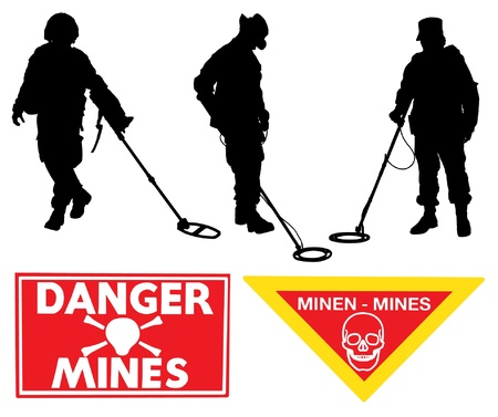 mines: Military Sapper Silhouette Minefield warning sign on white background