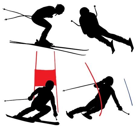 slalom: Narciarstwo alpejskie Silhouette na białym tle Ilustracja
