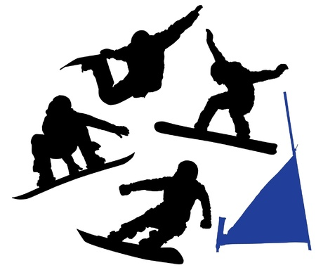 Snowboard Silhouette on white background