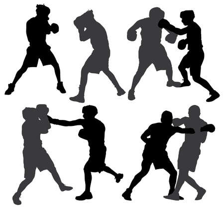 combative: Boxing Silhouette on white background