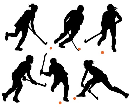 field hockey: Field Hockey Silhouette on white background
