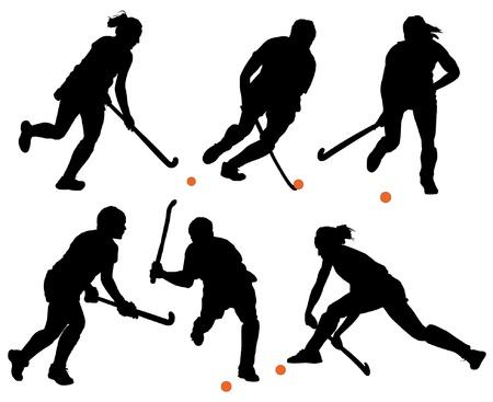 hockey sobre cesped: Hockey sobre hierba Silueta sobre fondo blanco