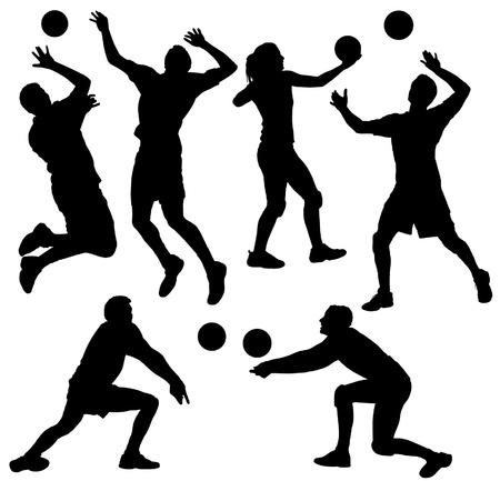 pelota de voleibol: Voleibol Silueta sobre fondo blanco Vectores