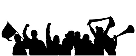 football party: Fans Cheering Silhouette on white background