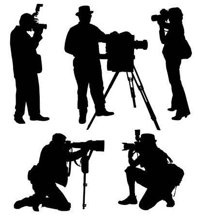 cameraman: Photographer Silhouette on white background Illustration