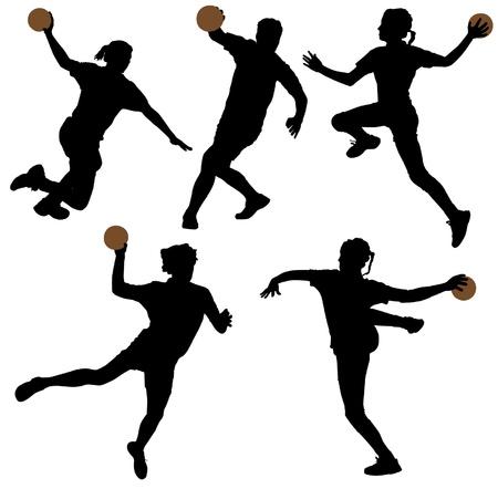 balonmano: Balonmano Silueta sobre fondo blanco Vectores