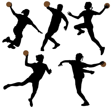 handball: Handball Silhouette on white background
