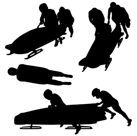 bobsleigh: Bobsleigh Silhouette on white background Illustration