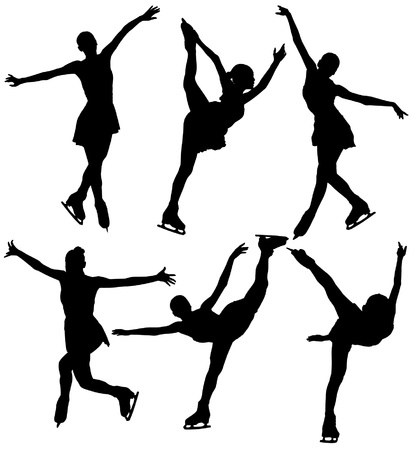 figure skating: Ice Skating Silhouette on white background