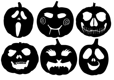 Halloween Pumpkin Silhouette on white background
