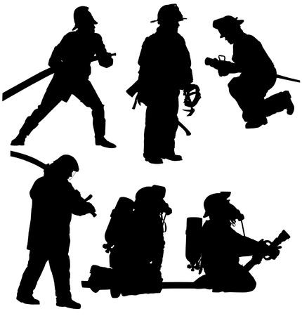 Siluetta del pompiere su fondo bianco Vettoriali