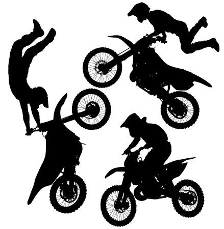 motorcross: Motocross Silueta Saltar sobre fondo blanco Vectores