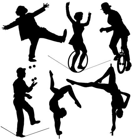 juggling: Circus Silhouette Artista en fondo blanco
