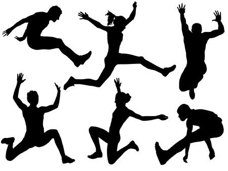 salto largo: Silueta de salto de longitud en el fondo blanco Vectores