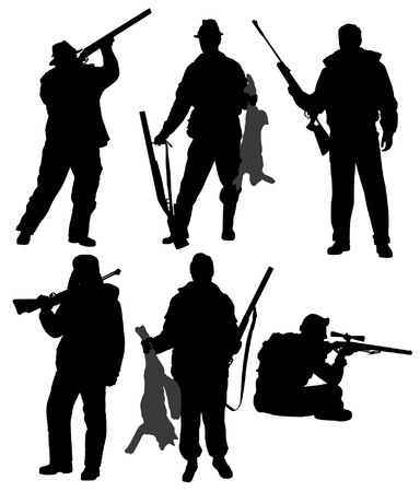 hombre disparando: Hunter Silueta sobre fondo blanco