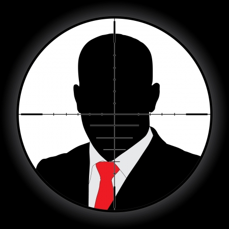 gun sight: Sniper scope crosshair aiming man
