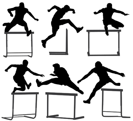 hurdle: Hurdler Silhouette on white background