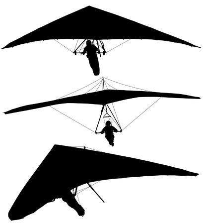 parapente: Hang Glider Silueta sobre fondo blanco