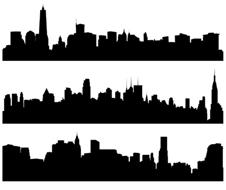 skyline: City Skylines Silhouette on white background