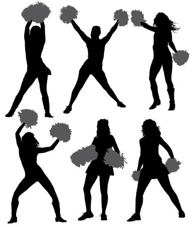 porrista: Cheerleader Silueta sobre fondo blanco Vectores
