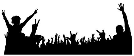foule mains: Silhouette Foule de concert sur fond blanc Illustration