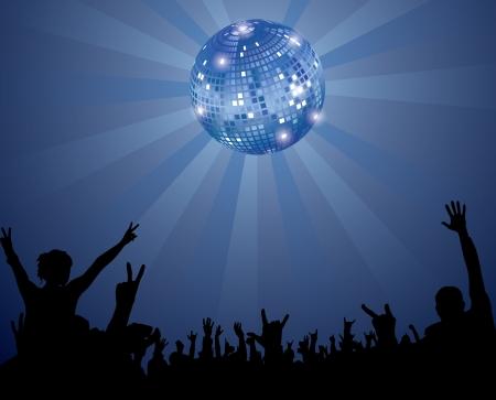 Noche Multitud Club con la bola de discoteca Ilustración de vector