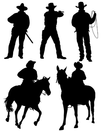 cowboy on horse: Cowboy Silhouette on white background Illustration