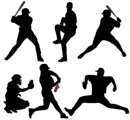 catcher baseball: Silhouette de baseball sur fond blanc Illustration