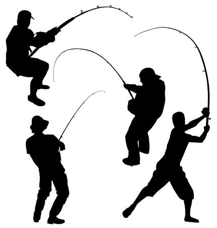 hombre pescando: Pesca Silueta sobre fondo blanco