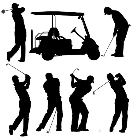 golf cart: Golf Player Silhouette on white background