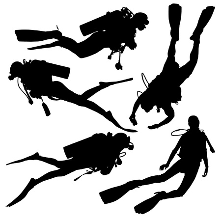 underwater diving: Diving Silhouette on white background