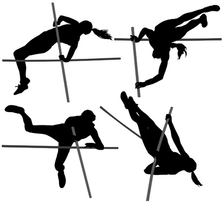 Pole Vault Silhouette on white background Vector