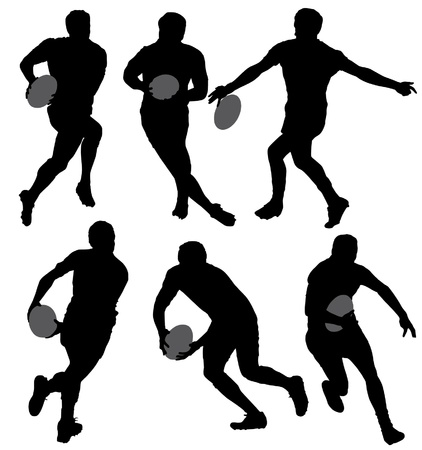 rugby team: Rugby Silhouette on white background