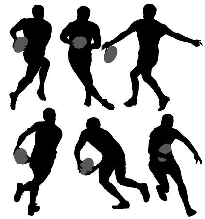 pelota de rugby: Silueta Rugby en el fondo blanco Vectores