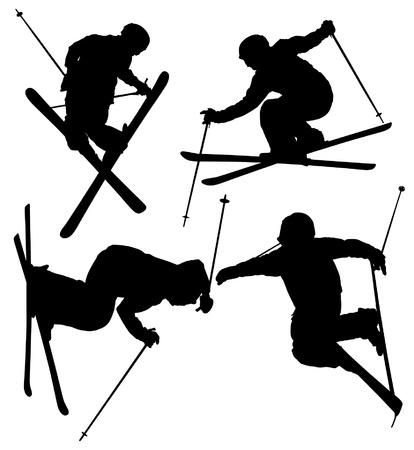 스키 타는 사람: 흰색 배경에 프리 스타일 스키 실루엣 일러스트