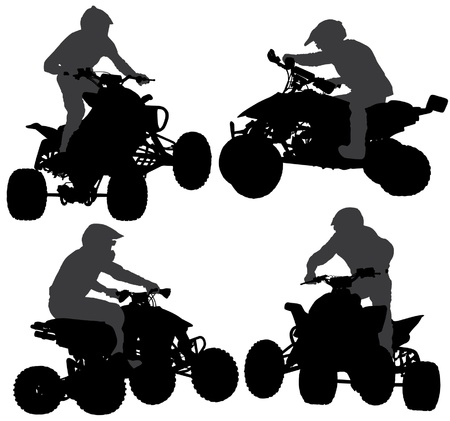 Quadbike Silhouette on white background Stock Vector - 17180900