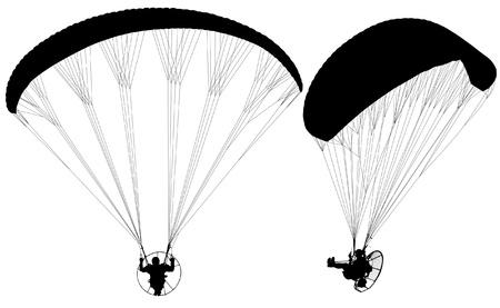 parapendio: Parapendio Paramotore con Silhouette su sfondo bianco Vettoriali