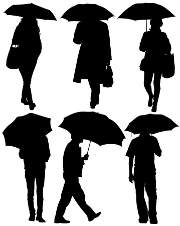 raining: Man and Woman with an Umbrella Silhouette on white background