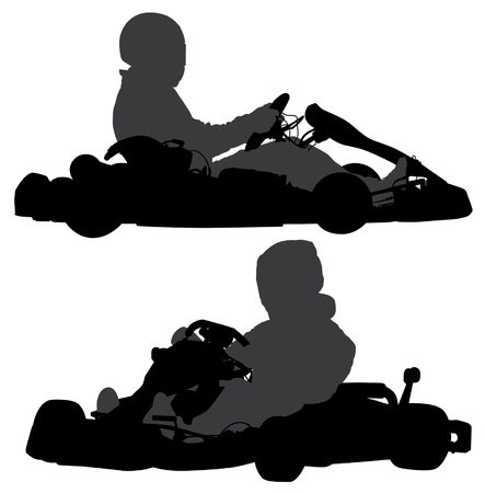 Go-Kart Silhouette on white background Stock Vector - 17227240