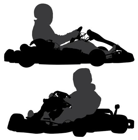 carting: Go-Kart Silueta sobre fondo blanco