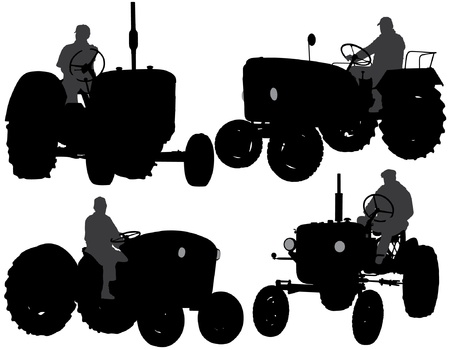 farm equipment: Farmer Tractor Silhouette on white background Illustration